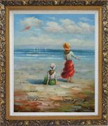 Two Girls Flying Kite Joyfully On Beach Oil Painting Portraits Child Impressionism Ornate Antique Dark Gold Wood Frame 30 x 26 inches