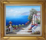 Favorite Mediterranean Garden Steps Oil Painting Impressionism Gold Wood Frame with Deco Corners 27 x 31 inches