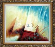 Numbers Oil Painting Nonobjective Modern Ornate Antique Dark Gold Wood Frame 26 x 30 inches