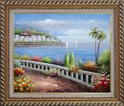 Beautiful Mediterranean Seaside Walk with Flowers Oil Painting Naturalism Exquisite Gold Wood Frame 26 x 30 inches