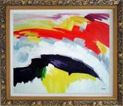 Red, Yellow, Blue, Purple and White Oil Painting Nonobjective Modern Ornate Antique Dark Gold Wood Frame 26 x 30 inches