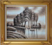 Trees and Reflections in a Light Brown Landscape Oil Painting Decorative Gold Wood Frame with Deco Corners 27 x 31 inches