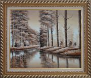 Two Rows of Trees and Reflections Along River Oil Painting Landscape Decorative Exquisite Gold Wood Frame 26 x 30 inches