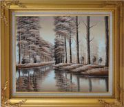 Two Rows of Trees and Reflections Along River Oil Painting Landscape Decorative Gold Wood Frame with Deco Corners 27 x 31 inches