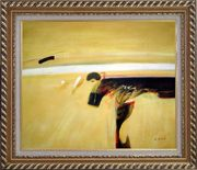 Dark Splash on Sand Oil Painting Nonobjective Modern Exquisite Gold Wood Frame 26 x 30 inches