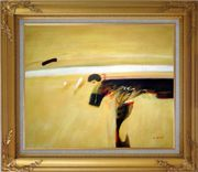 Dark Splash on Sand Oil Painting Nonobjective Modern Gold Wood Frame with Deco Corners 27 x 31 inches