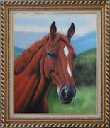 The Beauty of Red-Brown Horse Head Oil Painting Animal Naturalism Exquisite Gold Wood Frame 30 x 26 inches