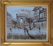 Tourists Enjoy Themselves Near Arc de Triomphe At Dusk In Brown Oil Painting Cityscape France Impressionism Gold Wood Frame with Deco Corners 27 x 31 inches
