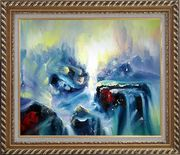 Blue Volcano Magma Oil Painting Nonobjective Modern Exquisite Gold Wood Frame 26 x 30 inches