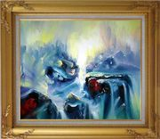 Blue Volcano Magma Oil Painting Nonobjective Modern Gold Wood Frame with Deco Corners 27 x 31 inches