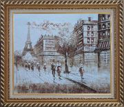 Remembering Paris Oil Painting Cityscape France Impressionism Exquisite Gold Wood Frame 26 x 30 inches