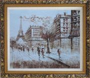 Remembering Paris Oil Painting Cityscape France Impressionism Ornate Antique Dark Gold Wood Frame 26 x 30 inches