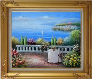 Table and Chair in a Mediterranean Flower Garden Oil Painting Naturalism Gold Wood Frame with Deco Corners 27 x 31 inches
