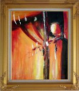 Red and Black Abstract Form Oil Painting Nonobjective Modern Gold Wood Frame with Deco Corners 31 x 27 inches