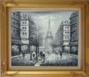 Memory of Eiffel Tower in Paris Black And White Oil Painting Cityscape France Impressionism Gold Wood Frame with Deco Corners 27 x 31 inches