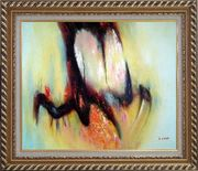 Nebulosity Oil Painting Nonobjective Modern Exquisite Gold Wood Frame 26 x 30 inches