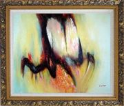 Nebulosity Oil Painting Nonobjective Modern Ornate Antique Dark Gold Wood Frame 26 x 30 inches