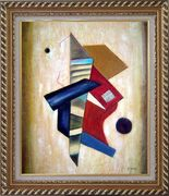 Patchwork in Yellow Background Oil Painting Nonobjective Modern Exquisite Gold Wood Frame 30 x 26 inches