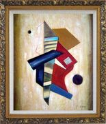 Patchwork in Yellow Background Oil Painting Nonobjective Modern Ornate Antique Dark Gold Wood Frame 30 x 26 inches