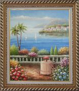 Mediterranean Dream Oil Painting Naturalism Exquisite Gold Wood Frame 30 x 26 inches