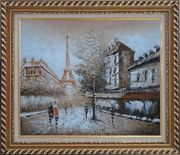Tour Eiffel, People and Street Oil Painting Cityscape France Impressionism Exquisite Gold Wood Frame 26 x 30 inches