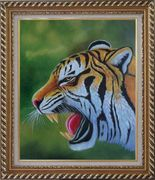 A Fierce Tiger Head in Green Background Oil Painting Animal Naturalism Exquisite Gold Wood Frame 30 x 26 inches