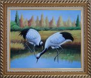 Pair of Red-Crowned Cranes Catch Fishes Pond Oil Painting Animal Bird Naturalism Exquisite Gold Wood Frame 26 x 30 inches
