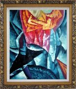 Dancer Ocean Bouquet of Flowers Oil Painting Nonobjective Modern Ornate Antique Dark Gold Wood Frame 30 x 26 inches