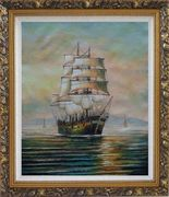 Sailing Ship's Oceangoing Voyage Oil Painting Boat Classic Ornate Antique Dark Gold Wood Frame 30 x 26 inches