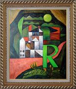 Villa R Contemporary Landscape Scene Oil Painting Modern Exquisite Gold Wood Frame 30 x 26 inches