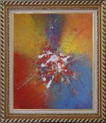 Abstract Colorful Splatters & Spots Oil Painting Nonobjective Modern Exquisite Gold Wood Frame 30 x 26 inches