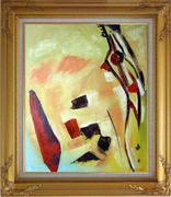 Passage to the Bottom of the Canyon Oil Painting Nonobjective Modern Gold Wood Frame with Deco Corners 31 x 27 inches