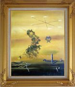 Cryptic Sky Oil Painting Nonobjective Modern Gold Wood Frame with Deco Corners 31 x 27 inches
