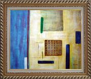 Patchwork with Blue, Orange and Green Oil Painting Nonobjective Modern Exquisite Gold Wood Frame 26 x 30 inches