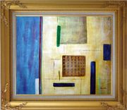 Patchwork with Blue, Orange and Green Oil Painting Nonobjective Modern Gold Wood Frame with Deco Corners 27 x 31 inches