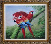 Three Red and Blue Macaw Parrots on Tree Oil Painting Animal Naturalism Ornate Antique Dark Gold Wood Frame 26 x 30 inches