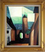 Space between Houses Oil Painting Cityscape Modern Gold Wood Frame with Deco Corners 31 x 27 inches