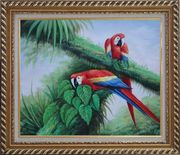 Red and Blue Macaw Resting on Branches of Tree Oil Painting Animal Parrot Naturalism Exquisite Gold Wood Frame 26 x 30 inches