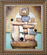 Stone Structure Oil Painting Nonobjective Modern Exquisite Gold Wood Frame 30 x 26 inches