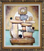 Stone Structure Oil Painting Nonobjective Modern Ornate Antique Dark Gold Wood Frame 30 x 26 inches