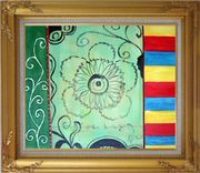 Three Patterns of Lines, Flower, and Yellow Red Blue Palette Oil Painting Nonobjective Modern Gold Wood Frame with Deco Corners 27 x 31 inches