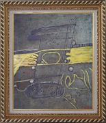 Yellow Pattern on Earth Oil Painting Nonobjective Modern Exquisite Gold Wood Frame 30 x 26 inches