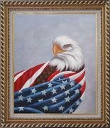American Eagle / USA Flag Oil Painting Animal Naturalism Exquisite Gold Wood Frame 30 x 26 inches