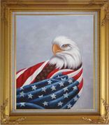 American Eagle / USA Flag Oil Painting Animal Naturalism Gold Wood Frame with Deco Corners 31 x 27 inches