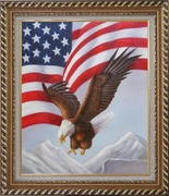 Bald Eagle Flying by American Flag Oil Painting Animal Naturalism Exquisite Gold Wood Frame 30 x 26 inches