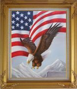 Bald Eagle Flying by American Flag Oil Painting Animal Naturalism Gold Wood Frame with Deco Corners 31 x 27 inches