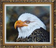 Proud and Brave National Emblem - Bald Eagle Oil Painting Animal Naturalism Ornate Antique Dark Gold Wood Frame 26 x 30 inches
