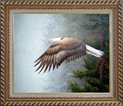 Bald Eagle, Mountain and Forest Oil Painting Animal Naturalism Exquisite Gold Wood Frame 26 x 30 inches