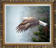 Bald Eagle, Mountain and Forest Oil Painting Animal Naturalism Ornate Antique Dark Gold Wood Frame 26 x 30 inches