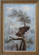 A Graceful Bald Eagle Stop on A Tree Oil Painting Animal Naturalism Exquisite Gold Wood Frame 42 x 30 inches